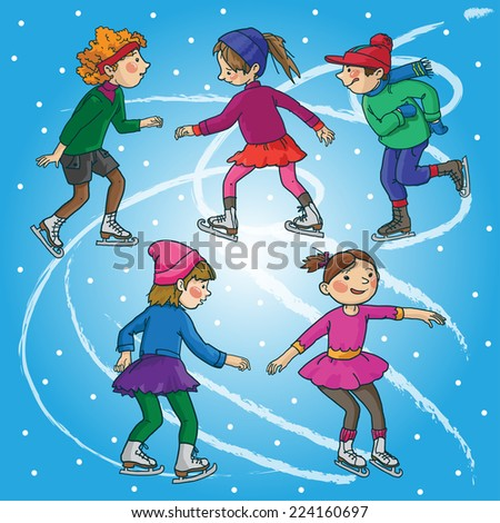 Children skating. Christmas season. Winter activities. Isolated objects on Snow Winter background. Great illustration for school books and more. VECTOR. - stock vector