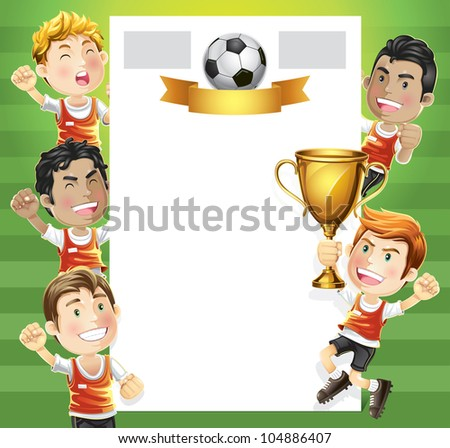 Children Soccer champion with winners trophy and scoreboard. cartoon character. - stock vector