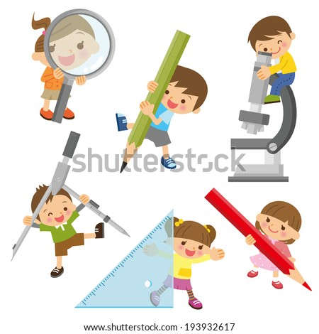 Children study - stock vector