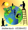 children taking care of planet earth - stock vector