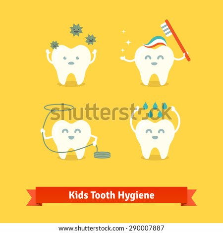Children teeth care and hygiene cartoon flat vector icons. - stock vector