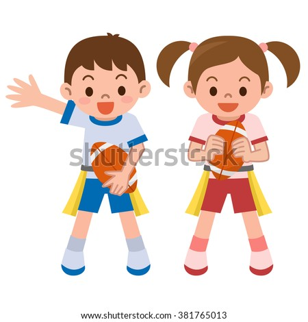Children to the tag rugby - stock vector