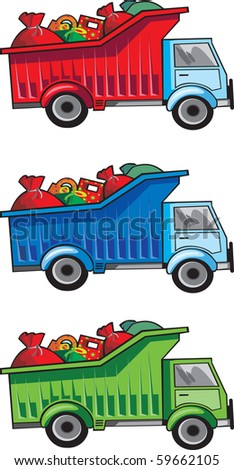 Children toy blue track with christmas or birthday gifts vector image - stock vector