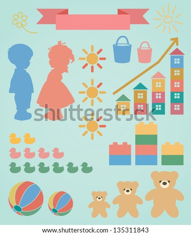 Children toy infographic set for your design. With these elements, you can make a original graphics on demographics, consumption, production of goods for children etc. - stock vector