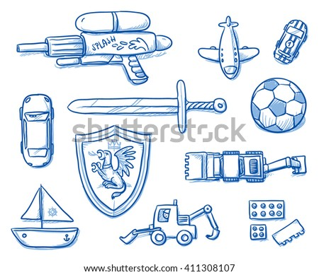 Children toys icons flat lay, sword, shield, ball, airplane, water gun, bricks, boat, car, excavator. Hand drawn cartoon vector illustration. - stock vector