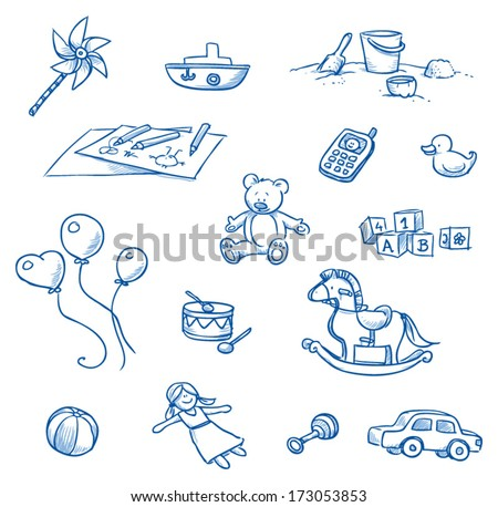 Children toys icons, rocking horse, balloons, doll, car, drum, boat, teddy, cell phone, duckling  hand drawn sketch - part 1 - stock vector