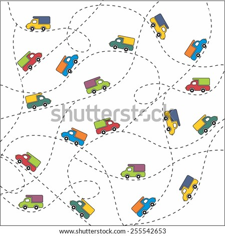 children truck background - stock vector