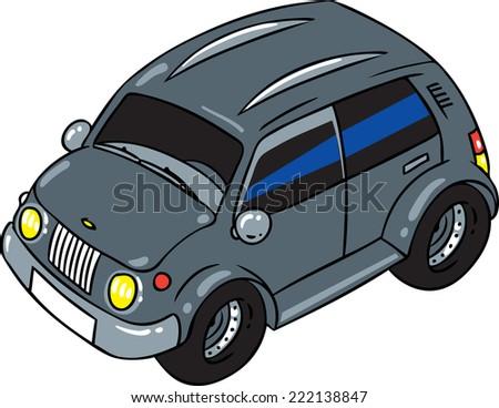Children vector illustration of big gray offroader or jeep. - stock vector