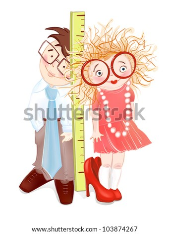 Children Want to Grow up. Vector illustration of two small children. Each object is separately layered and grouped. - stock vector