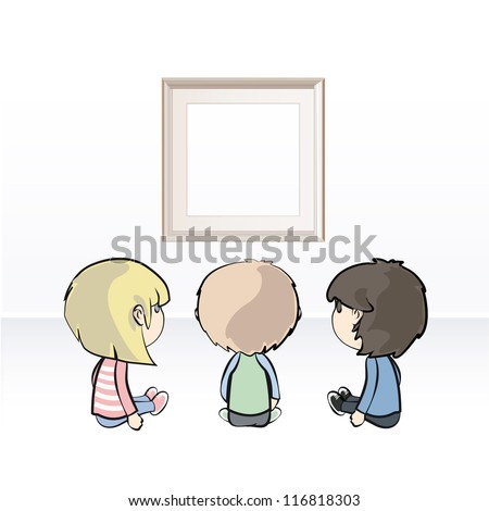 Children watching a frame into a museum. Vector illustration. - stock vector