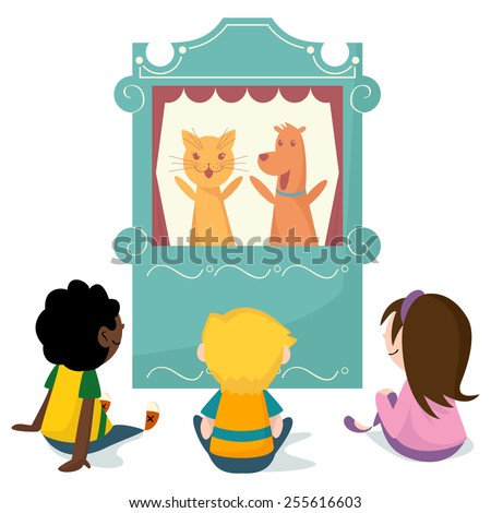 Children watching puppet show, vector illustration - stock vector