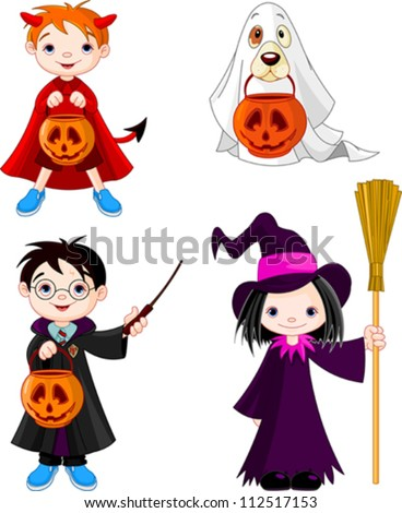 Children wearing Halloween costumes - stock vector