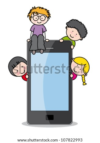 children with a cell phone.. Funny vector, isolated on white background - stock vector