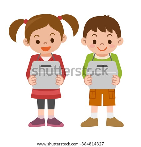 Children with a donation box - stock vector