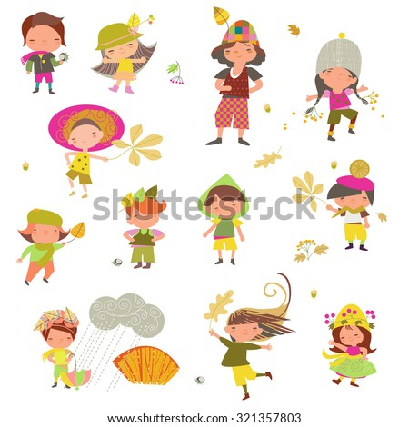 children with autumn leaves on a white background - stock vector