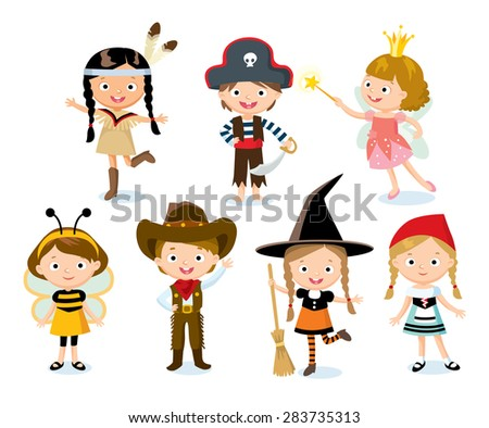 children with fairy costumes for Halloween party - stock vector