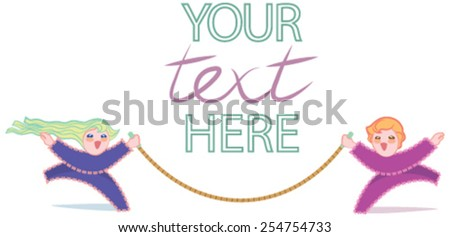 Children with skipping rope and space for text - stock vector