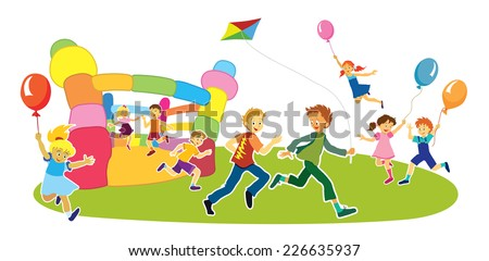 Children with smiling faces are playing, jumping and running,   - stock vector