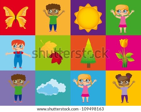 children with summer elements over colorful squares. vector - stock vector