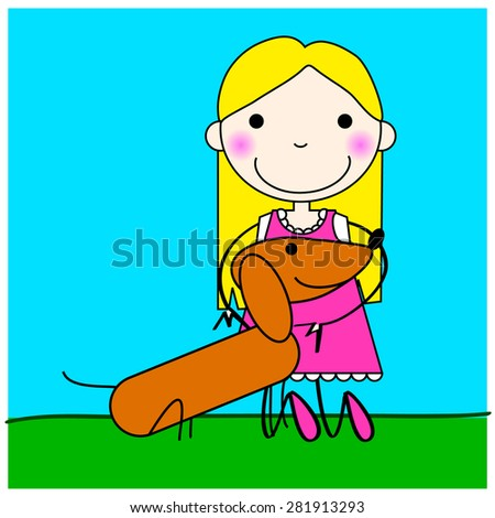 Children - young girl with dog, over a blue and green background. Cartoon type illustration. Editable vector. - stock vector