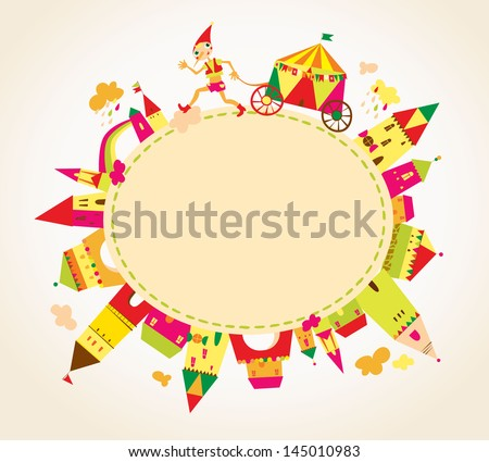 Childrens background with multicolored cartoon houses for cute card. Circle frame. Place for text. - stock vector