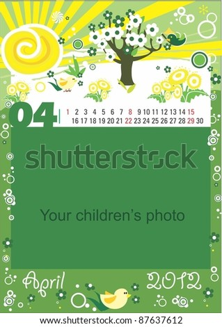 Childrens calendar for the month of April - stock vector