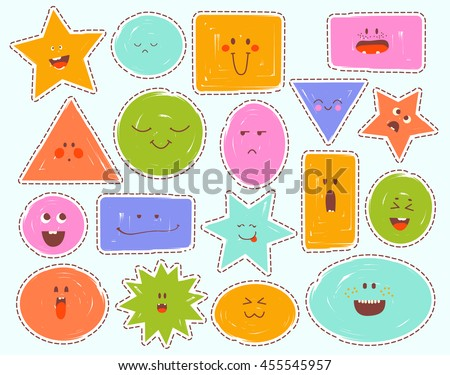 Childrens Cartoon faces with emotions. Comics doodle patches set, different expressions, childish logo, stickers. Funny colorful cloud, square, triangle, star... Hand drawn vector illustration. - stock vector