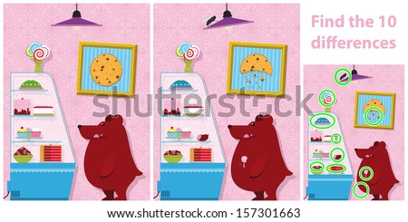 Childrens educational spot the difference puzzle of a bear with two versions of a vector illustration with 10 differences showing a bear standing buying cakes from a bakery display - stock vector