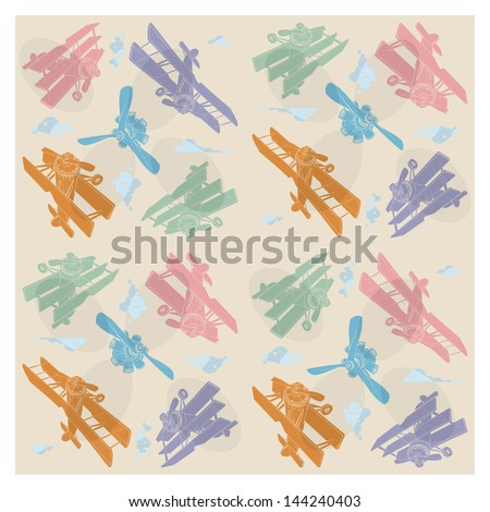 Childrens wallpaper. The first planes, vector - stock vector