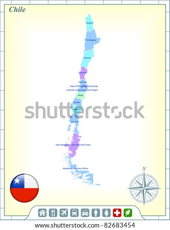Chile Map with Flag Buttons and Assistance & Activates Icons Original Illustration - stock vector