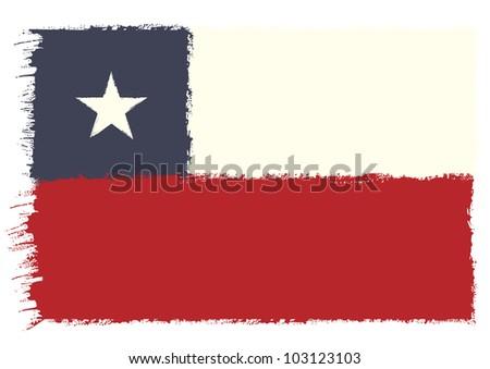 Chilean grunge Flag - stock vector