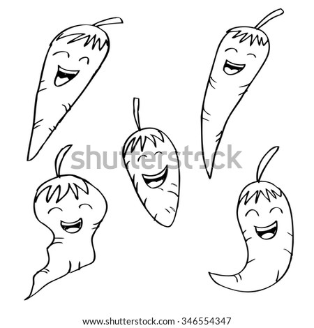 chili pepper cartoon with laugh expressions - stock vector
