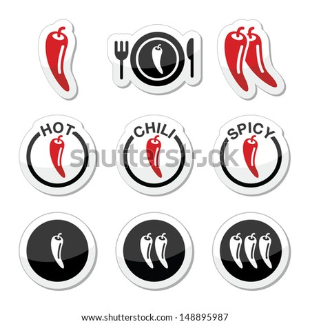Chili peppers, hot and spicy food icons set - stock vector