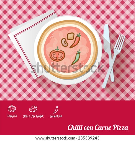 Chilli con carne pizza on a dish with icon ingredients and recipe name at bottom - stock vector