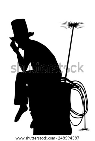 Chimney sweep on pipe with tools on a white background - stock vector
