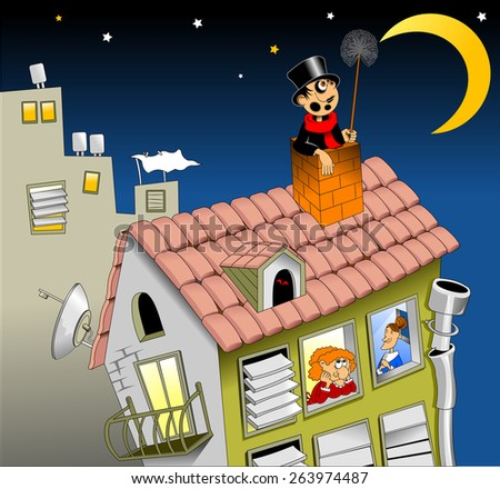 chimney sweep on the roof with a smile, looking at the moon - stock vector