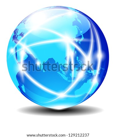 China and Asia, Global Communication Planet Data across the world with light lines Cable - Elements of this image furnished by NASA - The map was traced manually using the pen tool for maximum detail - stock vector