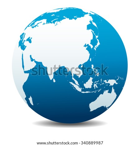 China and Asia, Global World - stock vector