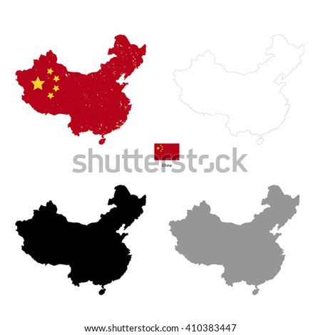 China country black silhouette and with flag on background, isolated on white - stock vector