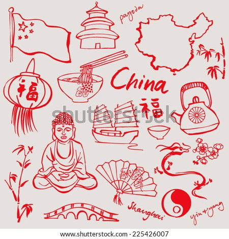 China doodle icons set - stock vector