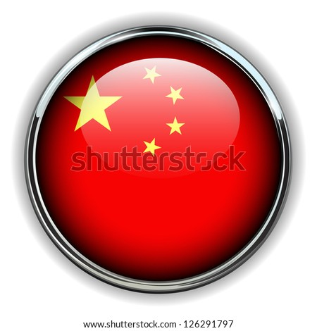 China flag button - stock vector