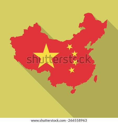 China flag,map flat icon with long shadow. Vector illustration EPS10 - stock vector