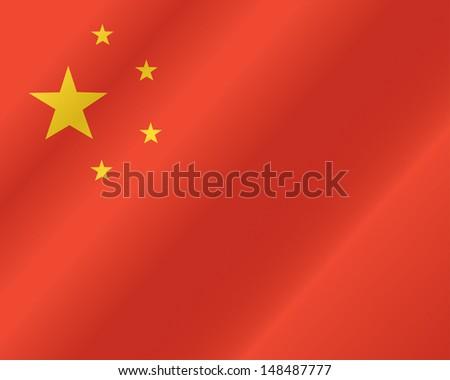 China flag, three dimensional render, satin texture - stock vector
