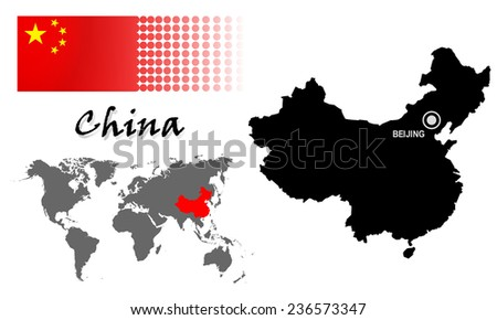 China info graphic with flag , location in world map, Map and the capital ,Beijing, location.(EPS10,Separate part by part) - stock vector