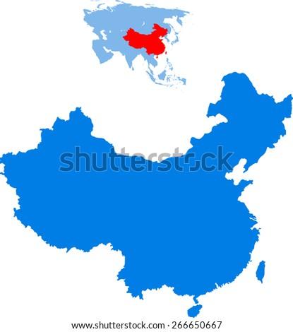 china map - stock vector