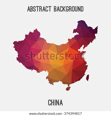 China map in geometric polygonal style.Abstract tessellation,modern design background. Vector illustration EPS8 - stock vector