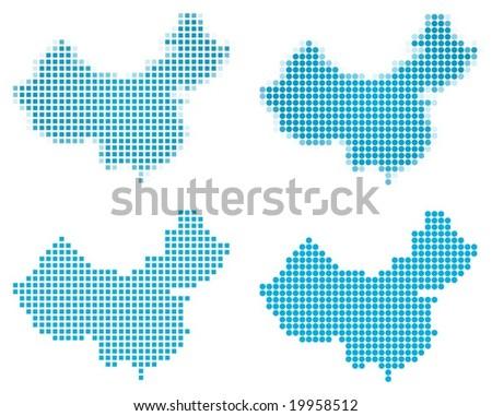 China map mosaic set. Isolated on white background. - stock vector
