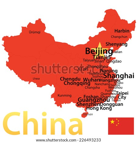 China - map with largest cities, carefully scaled text by city population. - stock vector