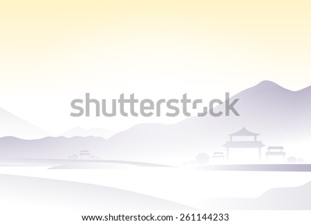 china mountain fog landscape vector illustration - stock vector