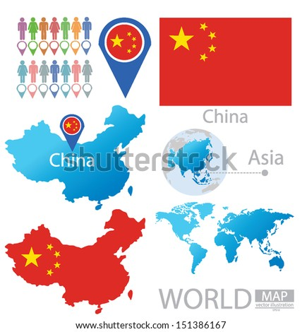 China. People's Republic of China. flag. Asia. World Map. vector Illustration. - stock vector